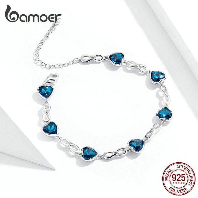 Pulsera de arco al por mayor amor-austriaca océano azul cristalino del corazón para los regalos de la joyería de moda las mujeres Brincos Aniversario de Navidad