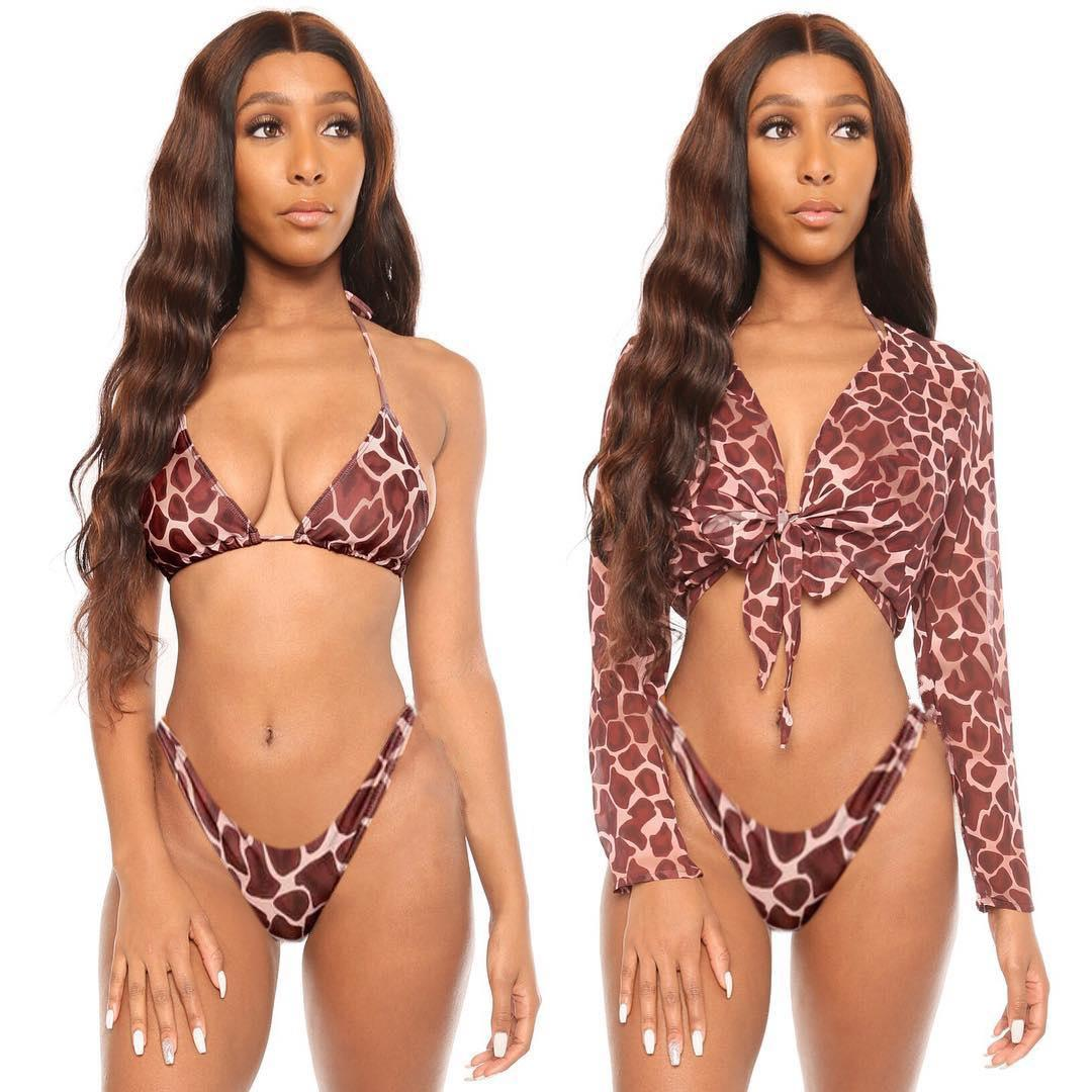 2020 European and American fashion trend new swimsuit bikini three-piece net yarn solid color simple and generous swimsuit