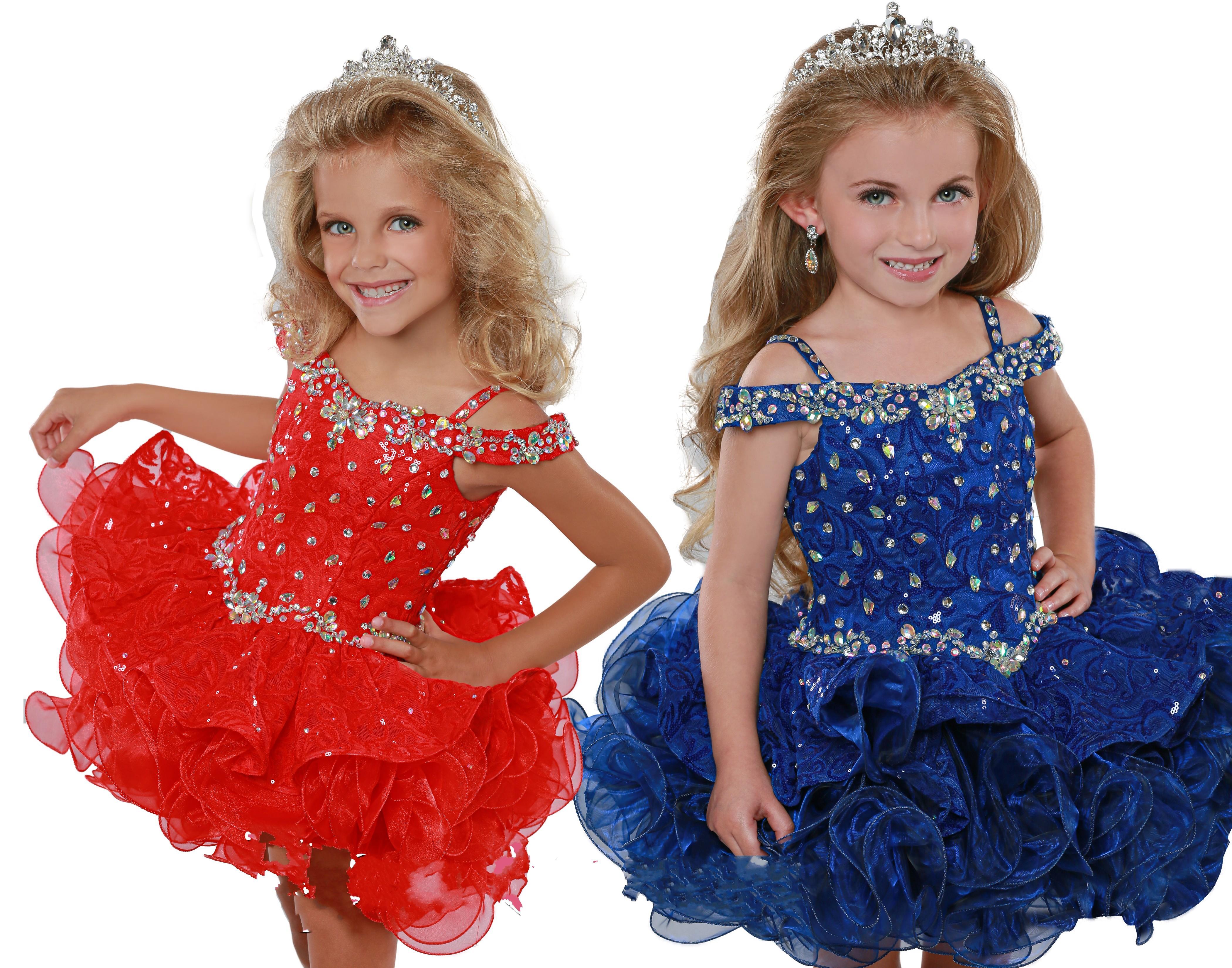 2021 Cute Red Royal Blue Short Cupcakes Toddler Little Girls Pageant Dresses Cold Shoulder Beads Cheap Flower Girls First Communion Dress