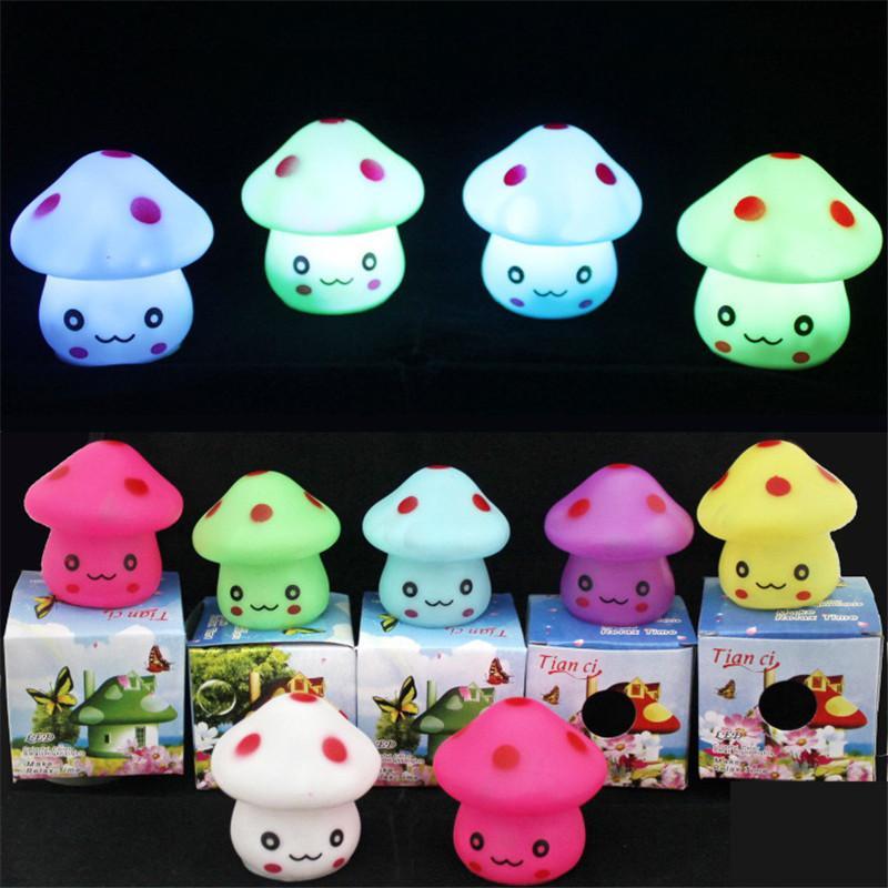 Cute mushroom Night Light mushroom face RGB Night Light kids Gift Bedroom lighting Decoration lamp kids toys