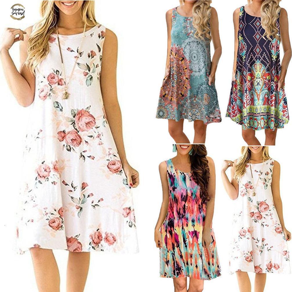 Size Plus Sleeveless Summer Dress Women Fashion Boho Dresses Casual Women Loose Dress Sundress Outfits Fashion Mini Dress designer clothes