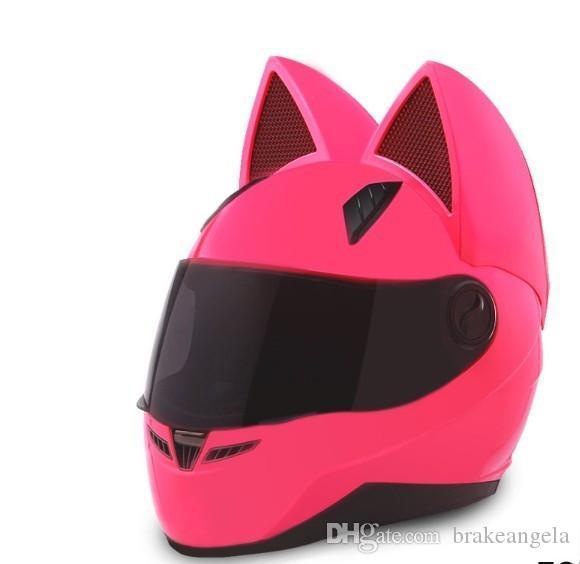2017 motorcycle helmet cat ears personality full hair helmet 4 color pink yellow