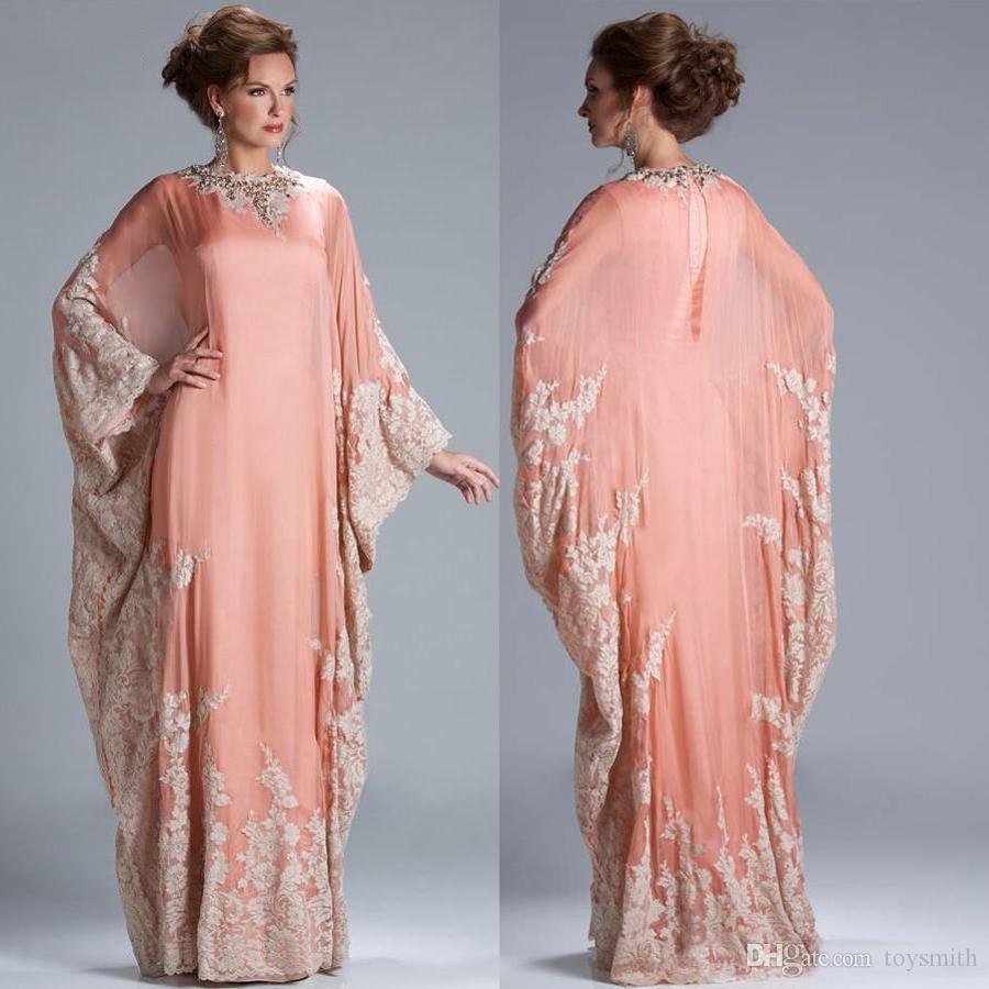 Lace Applique Evening prom gowns Muslim Caftan Party Gown 2019 Saudi Arabian Dubai Mother of the Bride Dresses