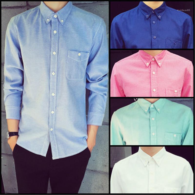 Camisas de forma magro cor sólida manga comprida camisas Mens Casual lapela Neck Tops Mens Negócios Designer