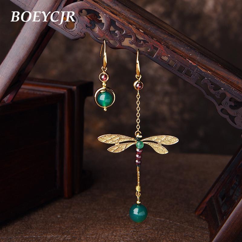 BOEYCJR Ethnic Vintage Dragonfly Stone Bead Asymmetric Dangle Earrings Fashion Jewelry Drop Hook Earrings For Women Gift