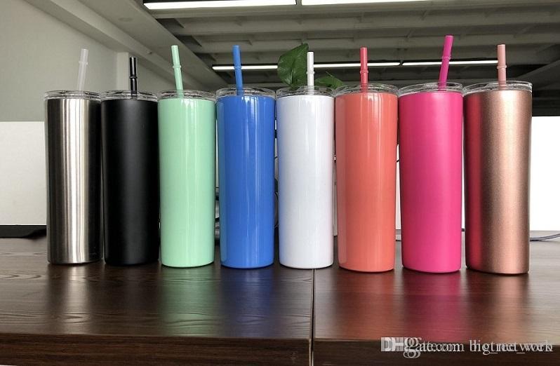 20 oz in acciaio inox Magro Tumbler cannucce colorate dritto tazza dell'acqua di vuoto isolata Birra tazze di caffè con coperchio e paglia libera