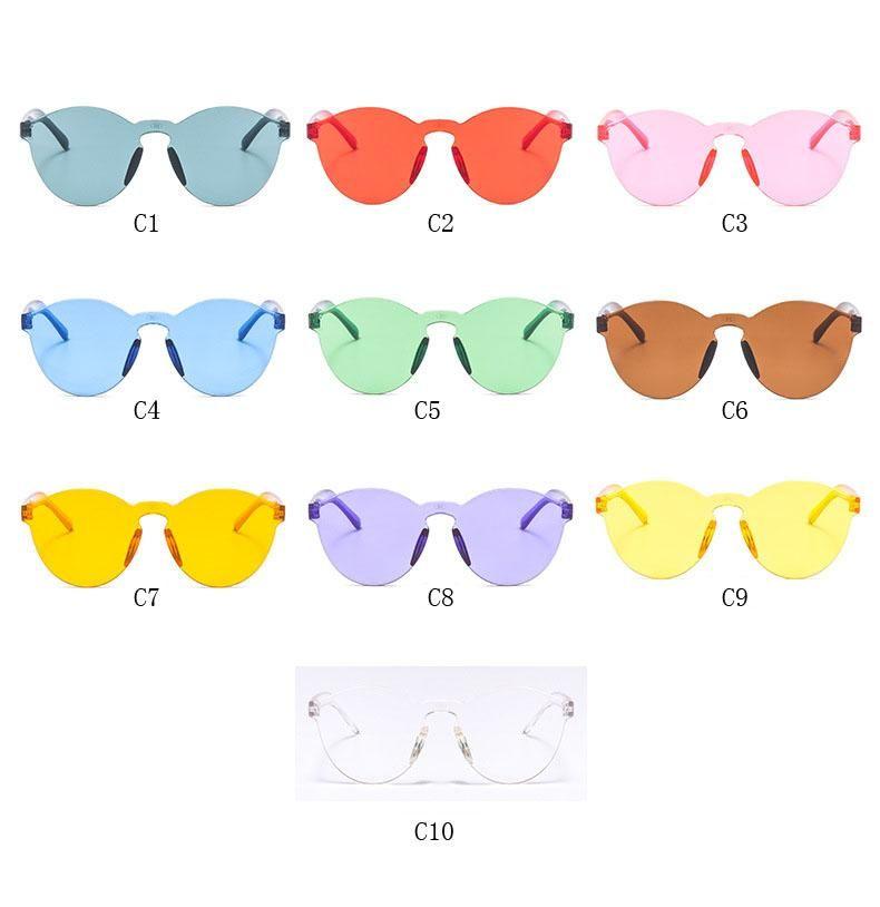 3 estilo de verão mulheres sem aro óculos de sol transparente shades óculos de sol feminino fresco doces cor uv400 eyewear oculos de sol hzyj288