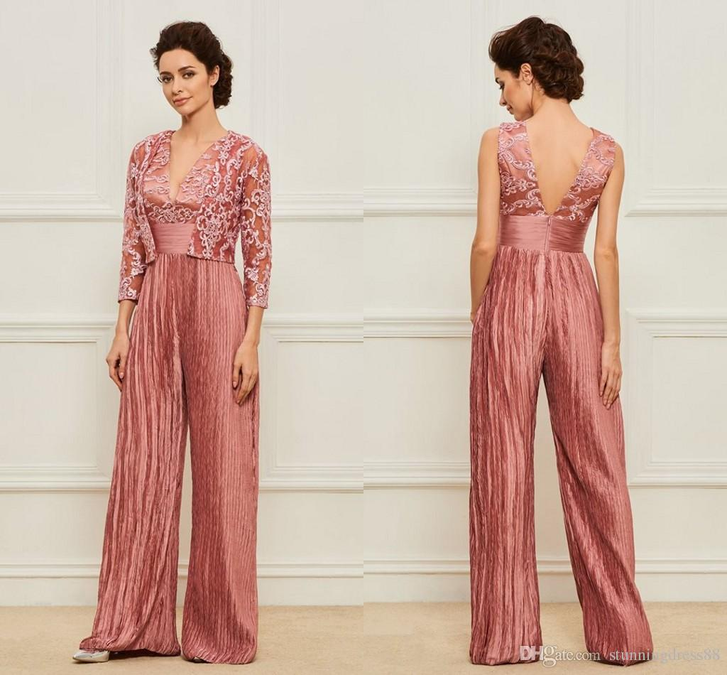 Amazing 2020 Mother of the Bride Groom Pants Suit With Jacket V neck Backless Pleated Long Cheap Evening Formal Gowns Jumpsuits Cheap