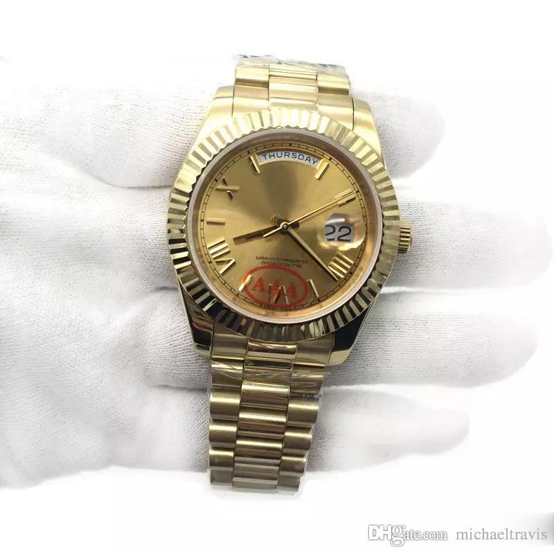 Orologio da polso maschile con movimento meccanico automatico, orologio da uomo, orologio da polso, orologio da uomo in oro giallo con cinturino in oro