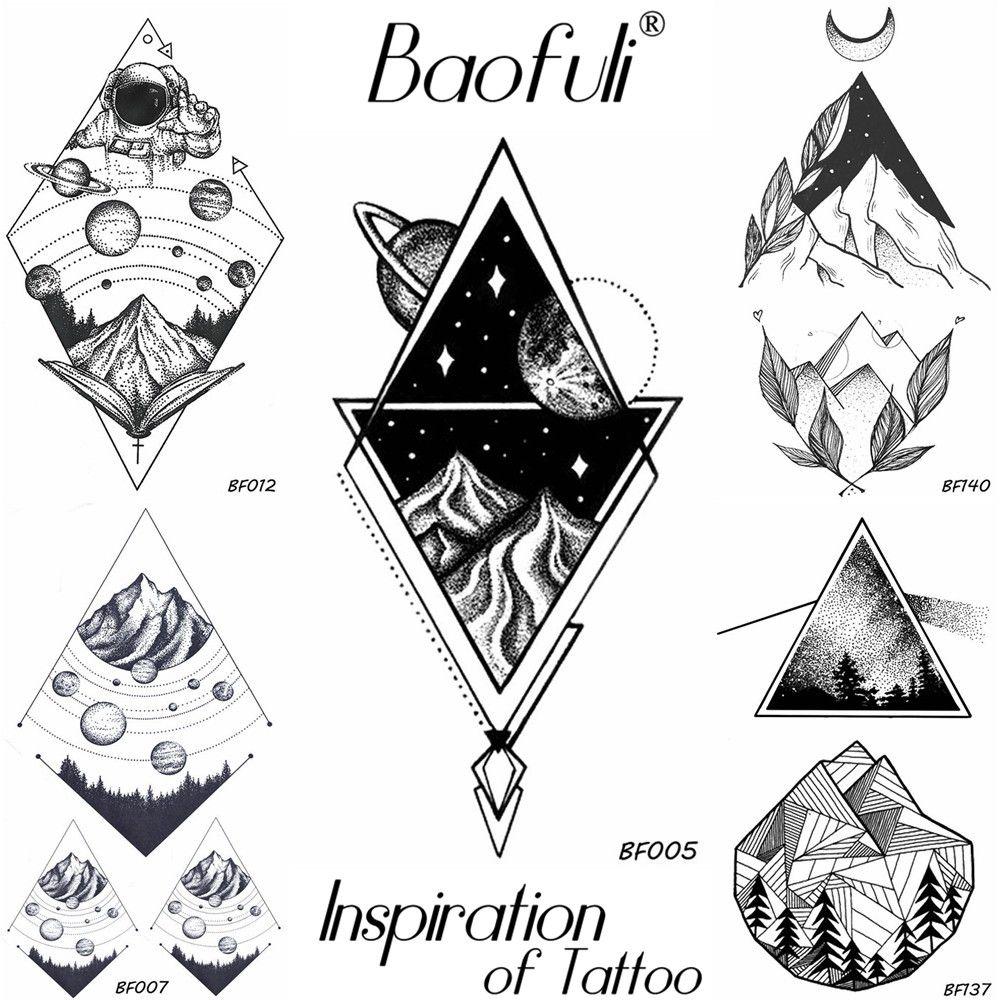 Acheter BRICOLAGE Hommes Étanche Tatouage Temporaire Géométrie Planètes  Ciel Étoilé Montagne Bras Tatoo Noir Triangle Diamant Tatouage Autocollants