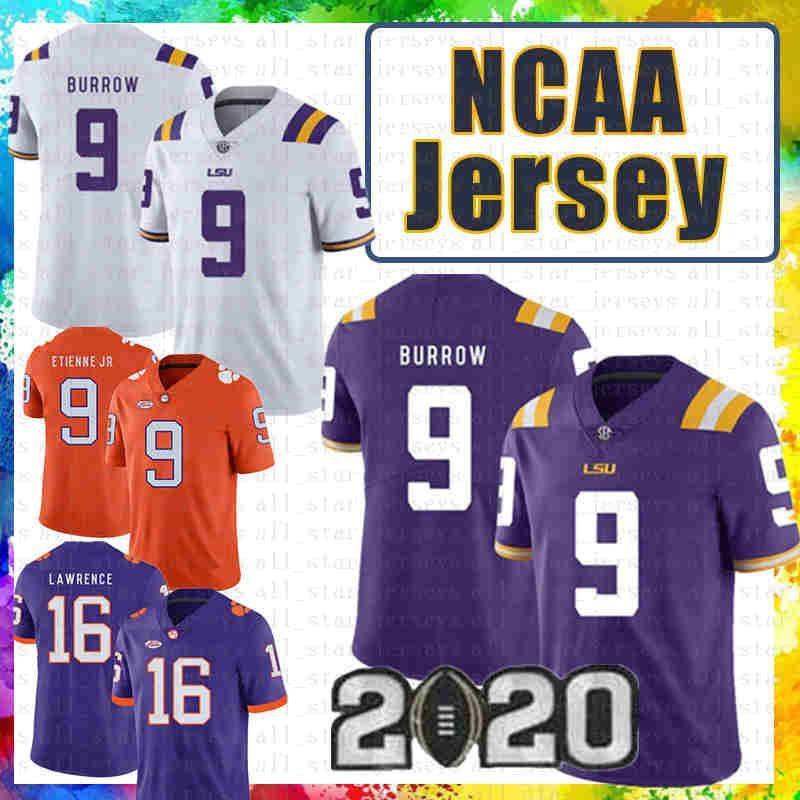 9 Joe Burrow LSU 호랑이 Clemson Jersey Tigers 16 Trevor Lawrence 9 Travis Etienne Jr. NCAA American Football Jerseys Julio Jones 2020 New