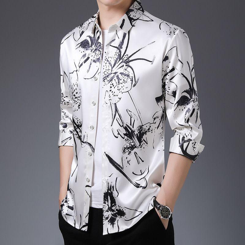 Summer Casual Shirts For Men White Dresses Large Sizes Fashionable Man Plus Size Colored Silk Satin Elegant Mens Blouse European