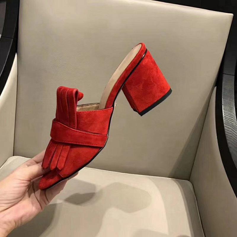 L929 2019 Marca Chinelos Best New Ladies real de couro da moda grossa de Lady Alta Qualidade Chinelos sandálias com saltos altos 35-42 Tamanho