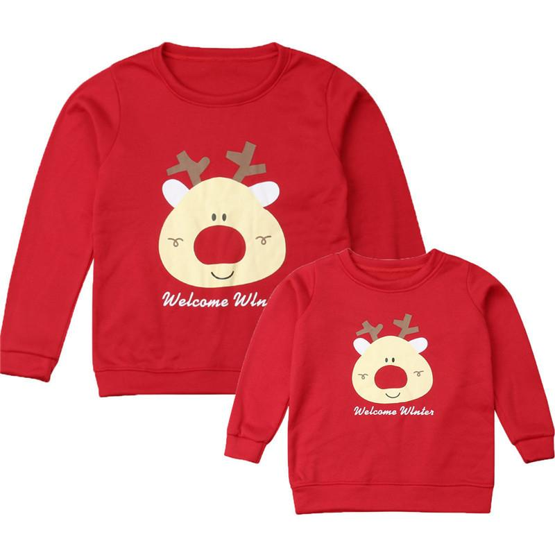 Imcute Family Christmas corrispondenza Outfit Padre Madre Kid Top T-shirt manica lunga Uomo Donna Casual Warm Pullover Xmas Deer Panno