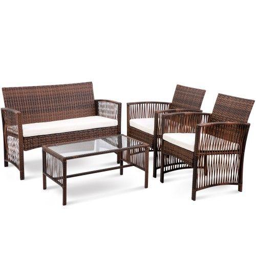 4 creux PC Stripe rotin meubles de patio avec table verre trempé