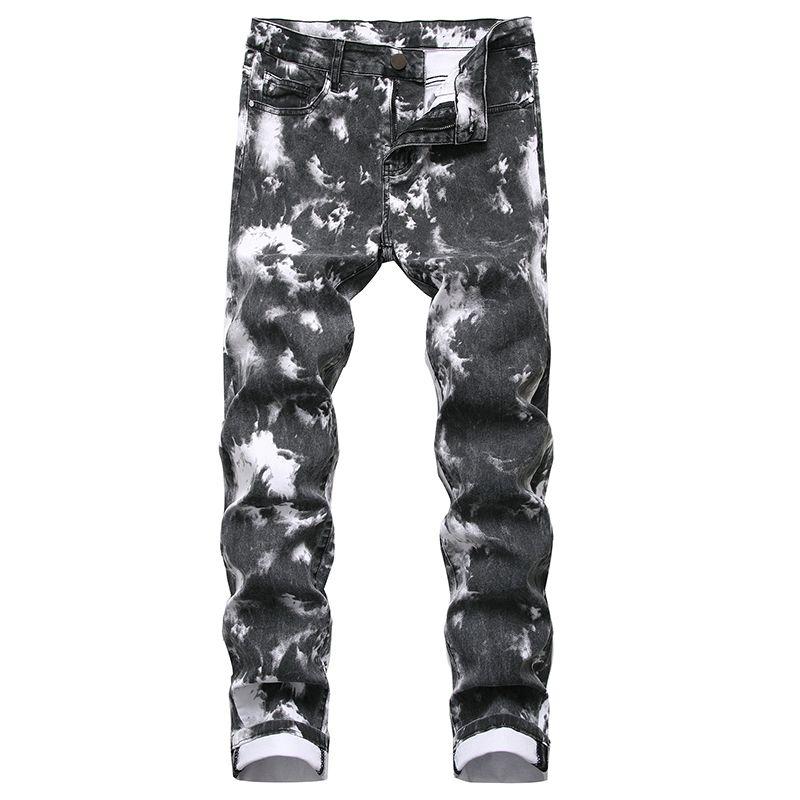 Moda kot erkekler ince kot erkek pantolon artı boyutu uydurma sıkı kot düz klasik pantolon tasarım pantolon germek