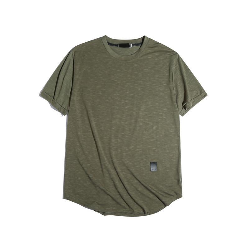 Erkek Tişörtler Moda Deri Kasetli Doğal Renk Tişörtler Casual Mürettebat Yaka Kısa Kollu Tişörtler Erkek Giyim