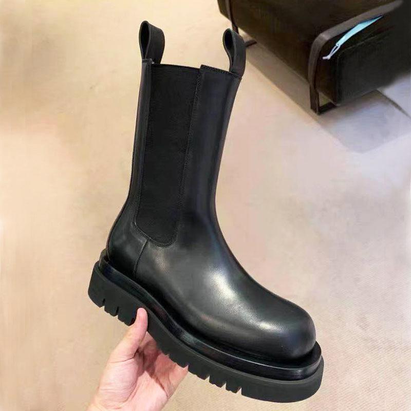 Узелок Лолита Boots Женщины Обувь Осень Круглый Toe зима обувь пинетки женщина 2019 Низкий каблук Сапоги-женщины Черный