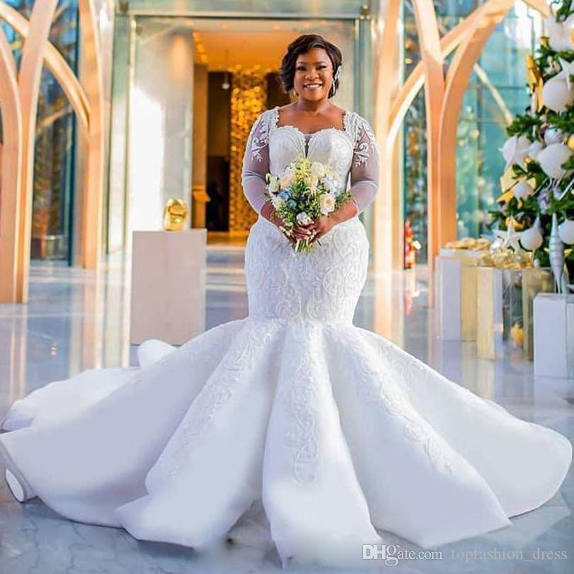 2019 Plus Size Mermaid Wedding Dresses Long Sleeves Sweetheart Neckline Sequins Applique Lace Sweep Train Organza Satin Wedding Bridal Gown