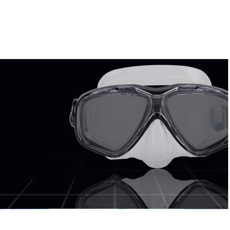 Immersioni in silicone Maschera Lente in vetro temprato Wide View per immersioni subacquee, snorkeling, apnea, nuoto - blu, nero, giallo, rosa