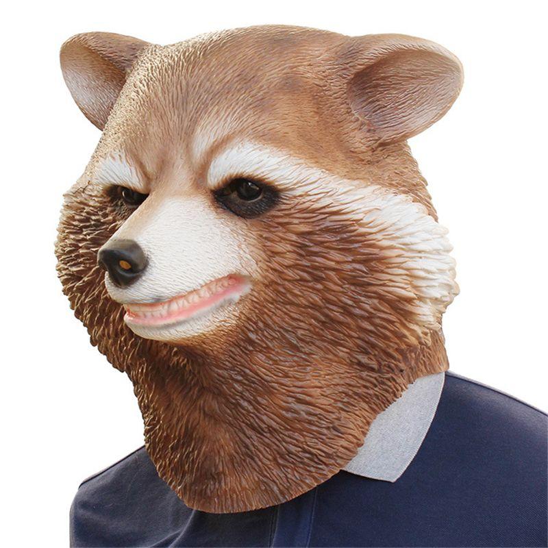 Halloween Animal Raccoon Head Mask For Adults Raccoon Latex Mask Cosplay Props