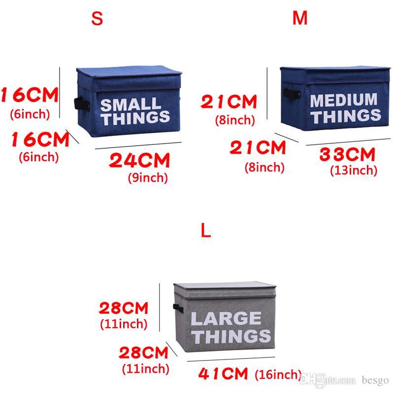 Vêtements pliants Paniers Boîte de rangement Lettre portable en coton imprimé lin pliable sac de rangement en tissu Jouet snack Boîte de rangement Petit DBC DH0801-3