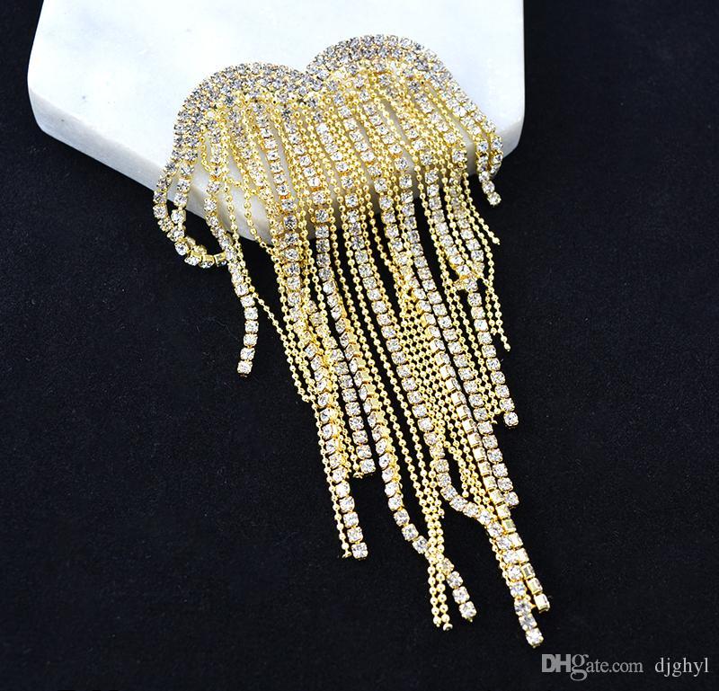 Broches para mulheres partido de cristal da gota da água Broach Broche e pinos de ouro brilhante Cristais Tassel broches Jóias Decoração