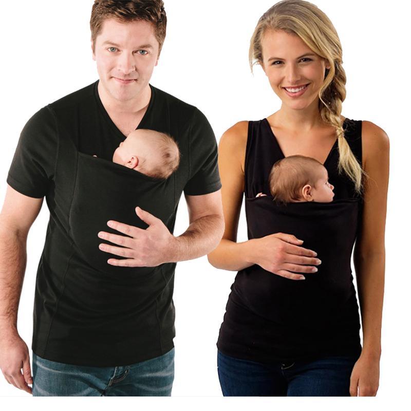Qualitäts-Baby-Fördermaschine Kleidung Känguru-T-Shirt für Familie Short Sleeve Big Taschen Umstandsmode mit Baby