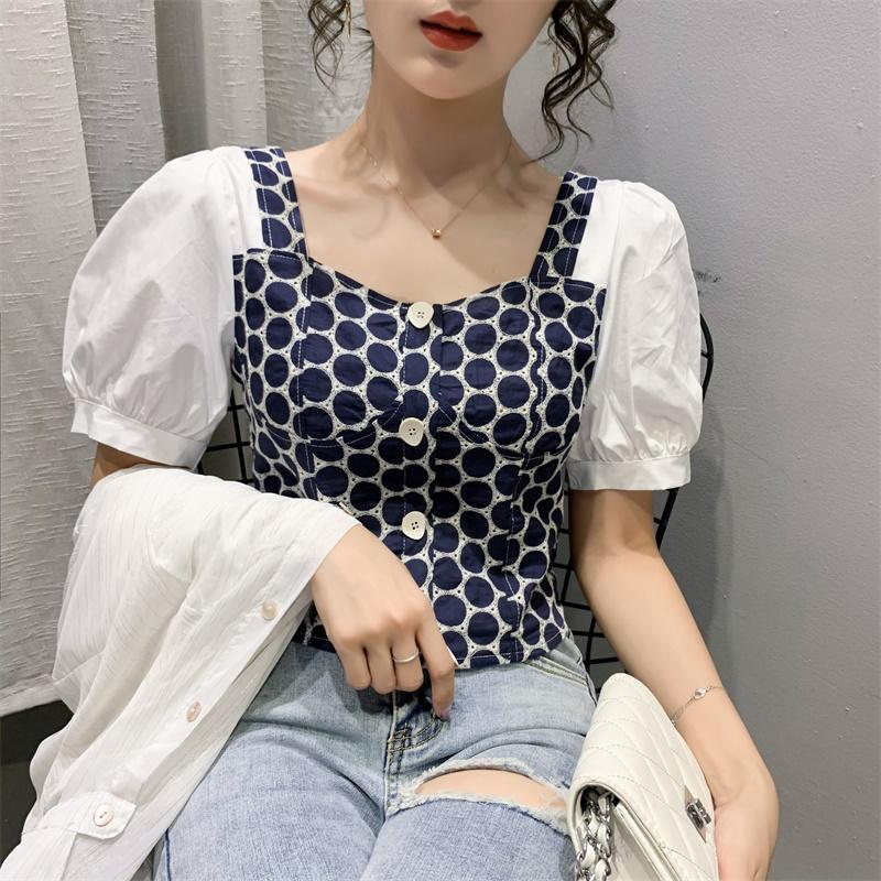 Donne Dressises 2020 camicia nuovo modo di estate francese Puff Sleeve Square Collar Slim cucitura manica corta shirt design Moda Donna
