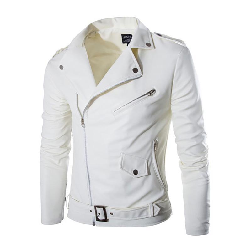 2019 moda gola de couro da motocicleta homens de couro jaqueta masculina outerwear jaqueta de camurça branca homens Y1