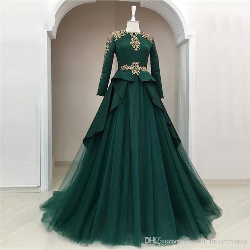 2019 modeste modeste robe de soirée verte musulmane manches pleines Péplum A-ligne robes de soirée Appliques perlé longues robe de bal Abendkleider