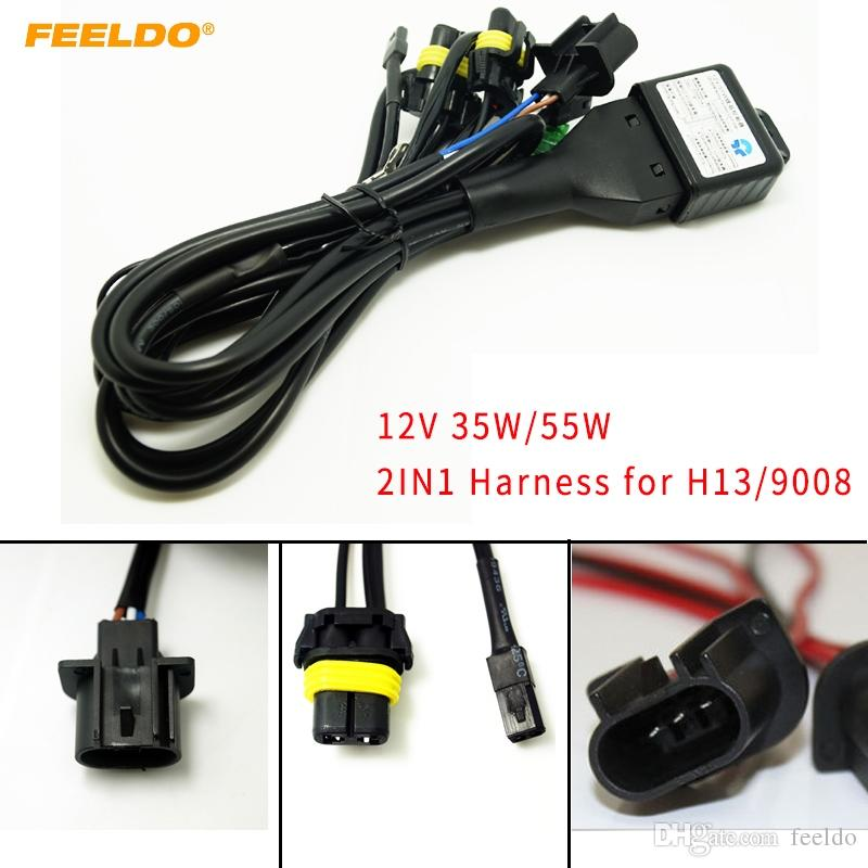 FEELDO Car 12V 35W/55W 2in1 Wire H13/9008 Hi/Lo Beam Bi-xenon Relay Harness For HID Conversion Kit #4104