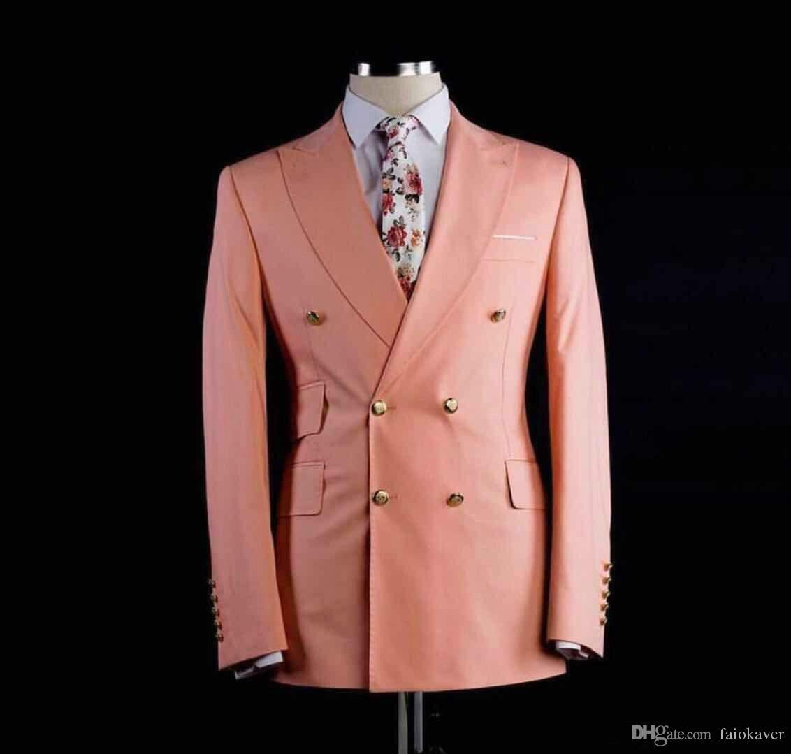 Double Breasted Suits Groomsmen Peach Groom Tuxedos Peak Lapel Mens Wedding Suits Vintage Peaky Custom Made Groom Wear Wedding Tuxedos