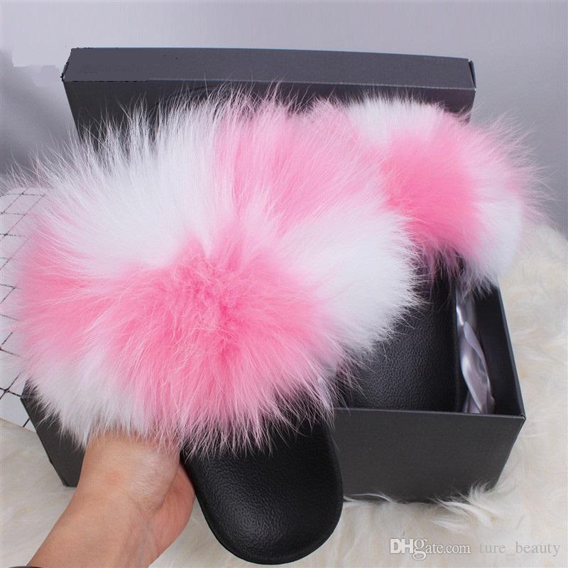 Qualidade dos bens crianças meninas Fox Fur Chinelos real Fur Slides interior Casual Raccon Fur Sandals Furry Fluffy Plush Sapatos 1pairs / 2pcs