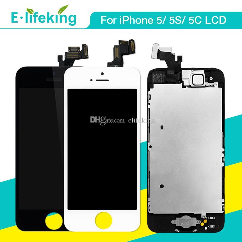 IPhone 5 5 S 5C LCD Ekran Dokunmatik Ekran Digitizer Tam Meclisi Ile Ana Düğme + Ön Kamera Komple LCD Değiştirme