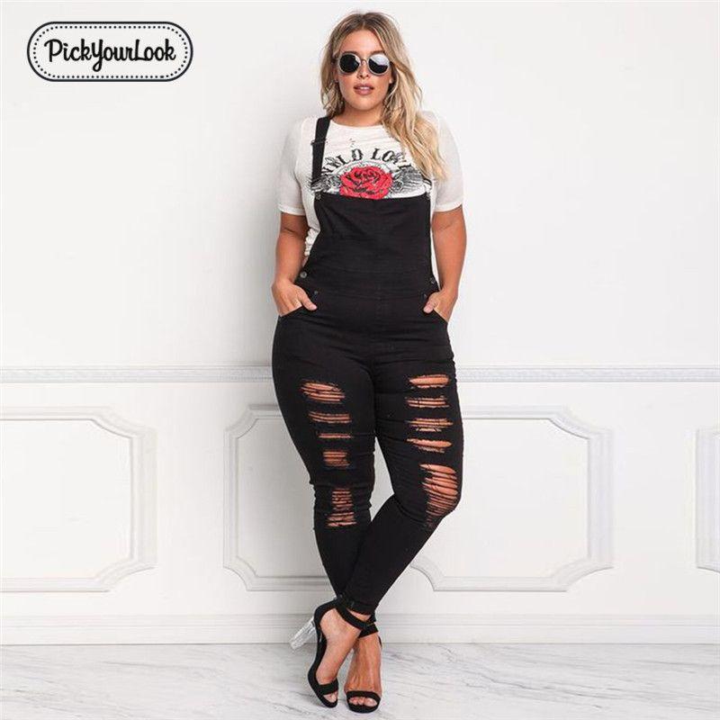 Pickyourlook Kadınlar Jumpsuit Büyük Beden Katı Kot Artı boyutu Backless Uzun Tulum Vintage İnce Streetwear Siyah Hollow Bel Y200106