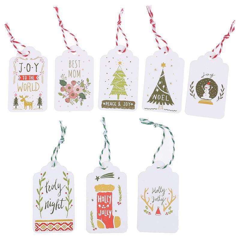 50pcs / lot Joyeux Noël bricolage unique Balises cadeau petite carte en option Chaîne bricolage Craft Étiquette Party Decor