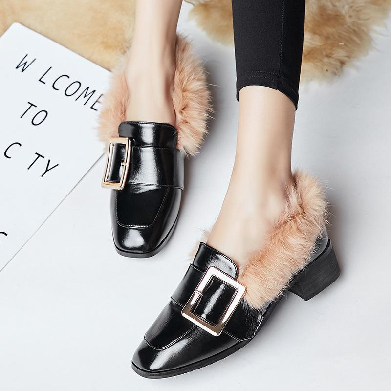 Skillful2019 Rabbit's Winter Hair Doug Woman Increase Down Small Leather Shoes Flat Bottom Laofu Lefu One Pedal Dawdler Baby Shoe