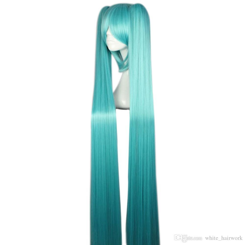 Femmes Longs Raides Bleu pleine Perruques avec Bangs 2 Ponytails Anime cosplay cheveux pour Vocaloid Hatsune Miku Figure