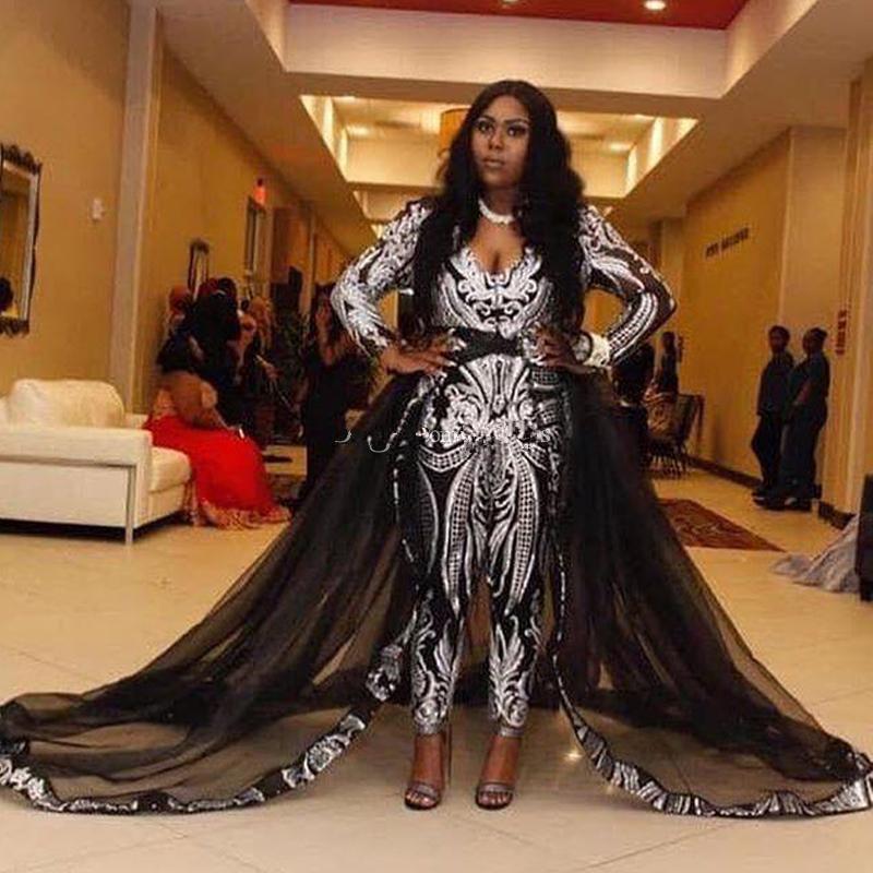 2020 caldo di vendita nero tuta abiti da sera con Prom Dress treno staccabile del nastro con paillettes a maniche lunghe Celebrity abito Plus Size