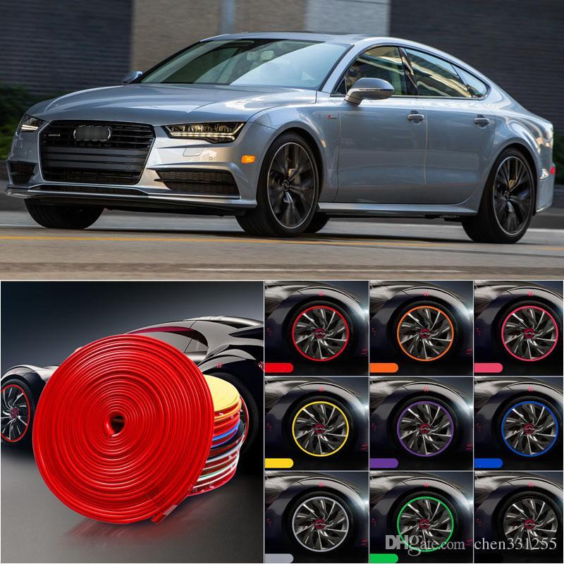 8 m cubo de roda do carro borda aro protetor anel pneu tira guarda de borracha adesivo decalques para audi a7