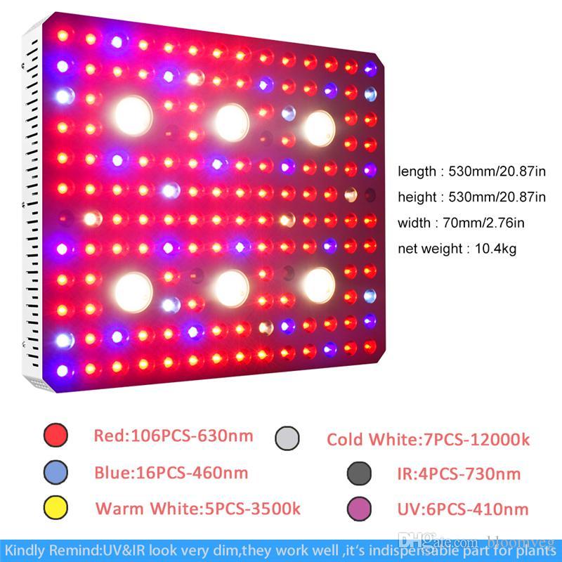 waterproof design 3000w Corey COB full spectrum dual chip light source UV IR plant growth lamp indoor greenhouse for medicinal plants