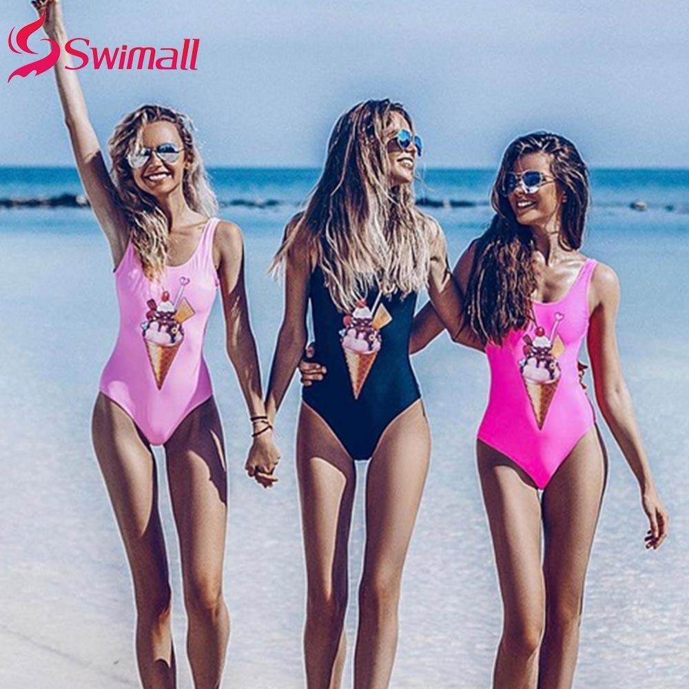 Una pieza atractivo del traje de baño sin respaldo impresión de las mujeres Trajes de baño de la vendimia de baño de verano ropa de playa de Monokini de helado de impresión