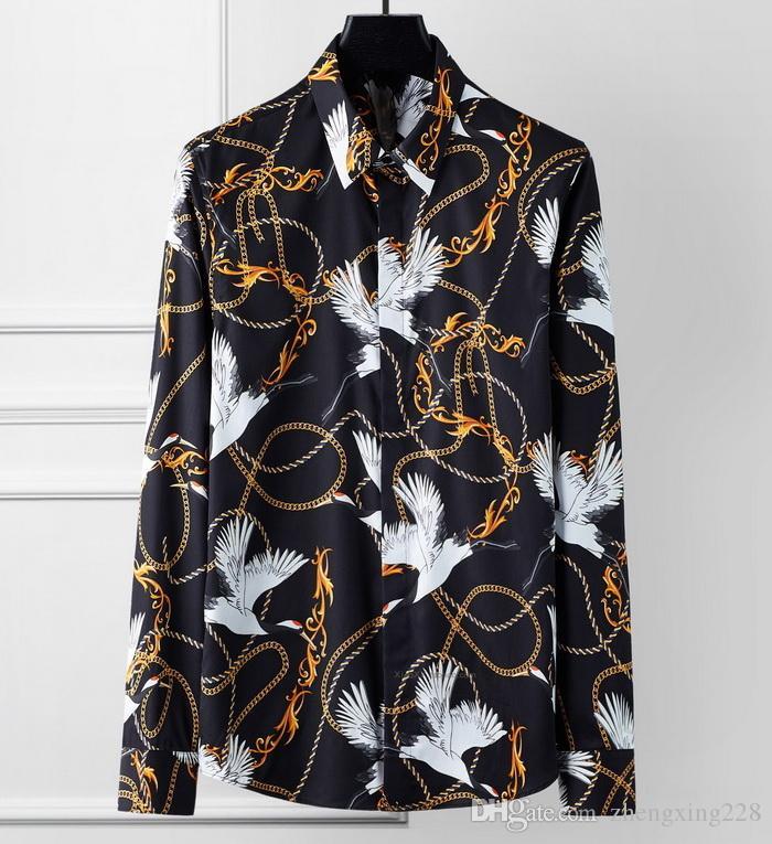 Yeni Erkekler Moda Gömlek Lüks Erkekler Tasarım Casual Slim Pamuk Gömlek Erkek Vinç Uzun Kollu Gömlek Boyut S-XXXL yazdır