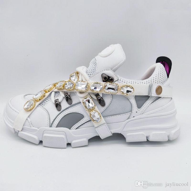 2019 çıkarılabilir kristalleri ile Yeni sneaker Erkek Tasarımcı Rahat Ayakkabılar Moda Bayan Tasarımcı ayakkabı Eğitmenler Sneakers with35-44