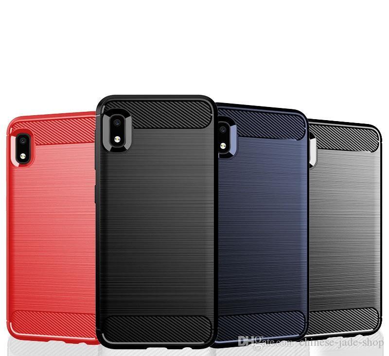 Текстура углеродного волокна Тонкие доспехи Матовый корпус TPU Чехол для Samsung Galaxy A10S A20S A10E Широкий4 A50S A90 A90 5G M30S 100 шт.