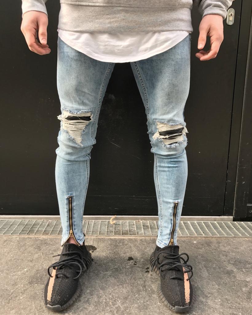 Hip Hop Moto Biker Hommes Jeans Hommes Designer Trou Sur Le Genou Bleu Clair Denim Pants Plus La Taille