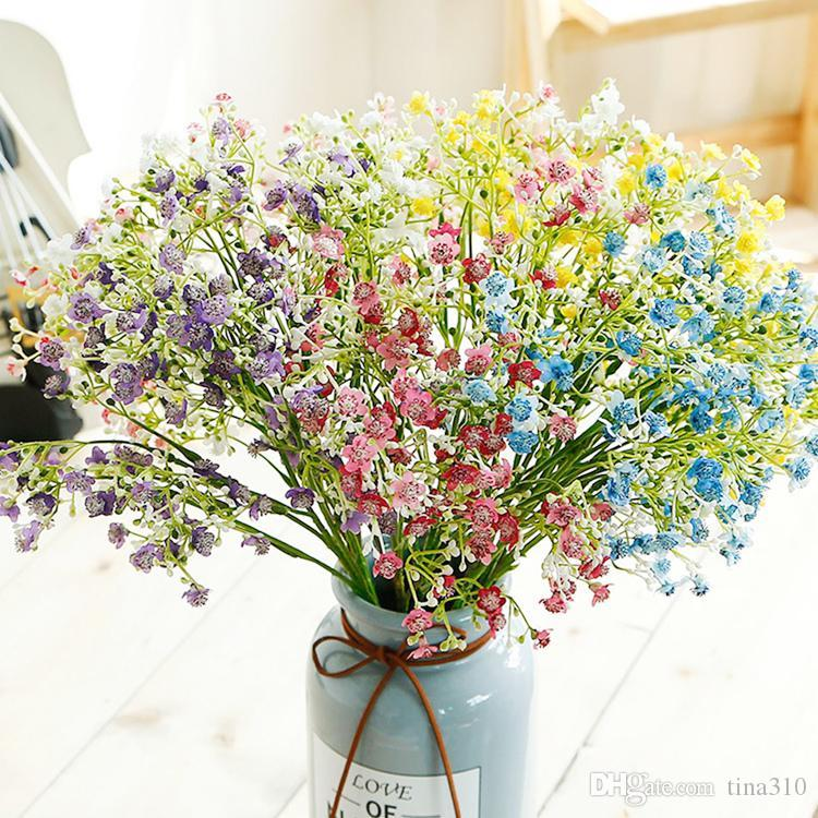 인공 꽃 다채로운 긴 줄기 가짜 꽃 꽃다발 숨 실크 꽃 웨딩 장식 꽃 가짜 꽃 T2I5333