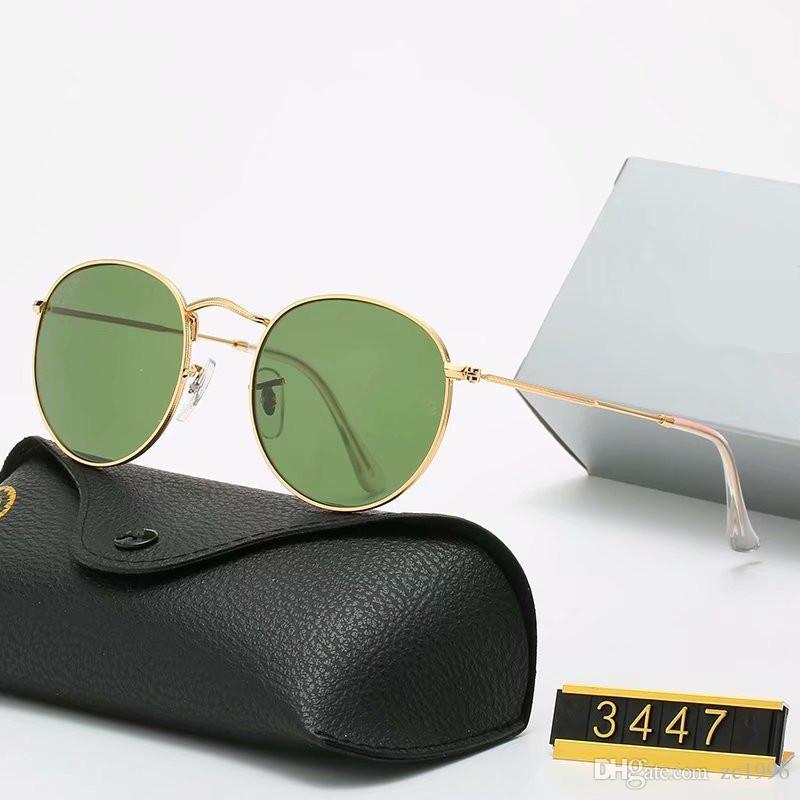 Klassischer Entwurf Marke Runde Sonnenbrille UV400 Brillen Metall Gold Frame Sperren Brille Mann Frau Spiegelglas-Objektiv-Sonnenbrille mit Kasten