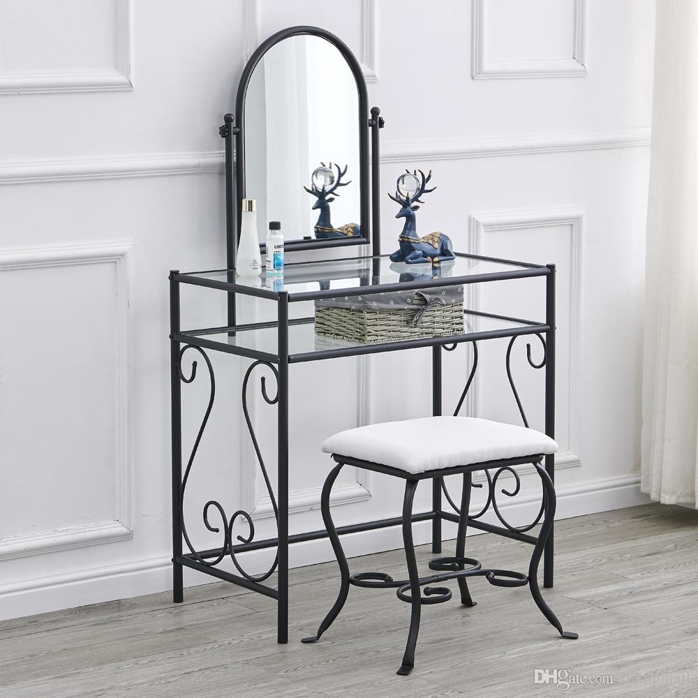 Simples Dresser vidro do ferro com rotação de 360 ° Espelho + praça de vestir Stool Preto Estilo Europeu quente item